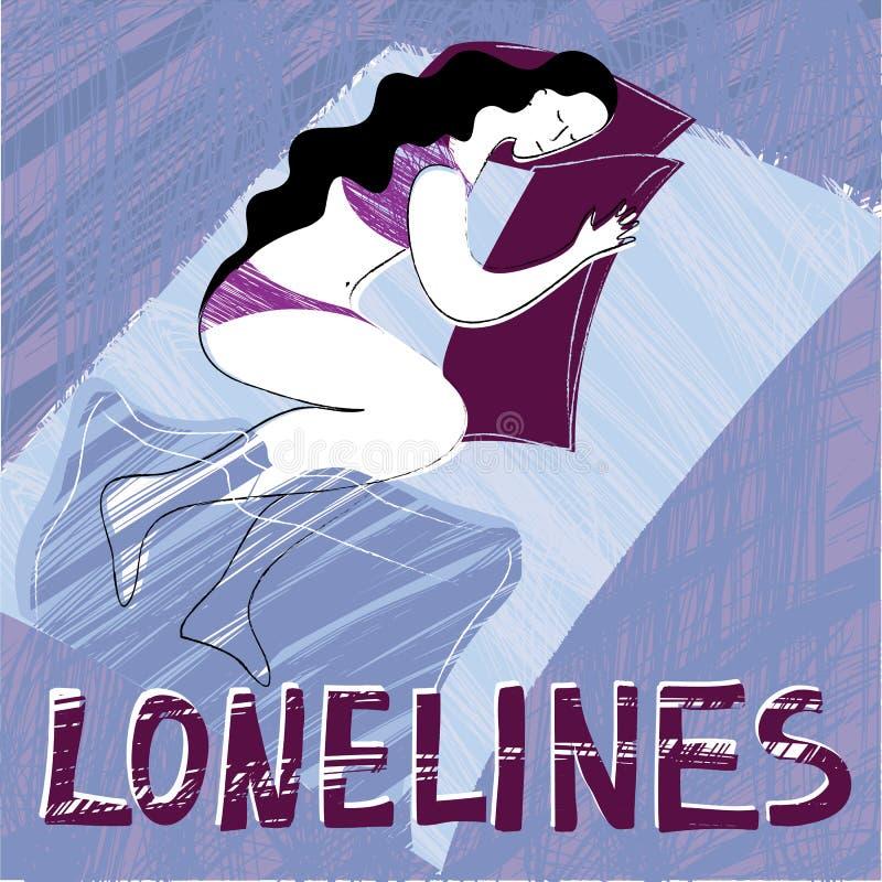 Solitude avec la femme illustration stock