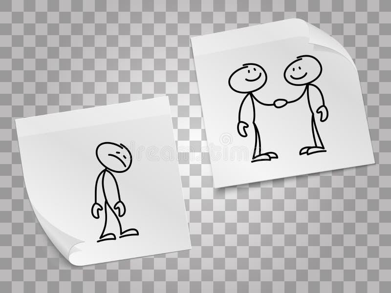 Solitude, concept de vecteur de collaboration d'affaires avec les pages de papier et personnes tirées par la main illustration libre de droits
