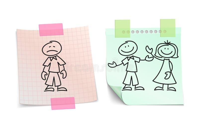 Solitude contre l'amour heureux sur le concept de papier de vecteur de feuilles illustration libre de droits