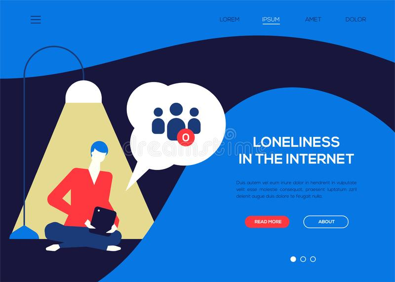 Solitude dans l'Internet - bannière plate colorée de Web de style de conception illustration stock