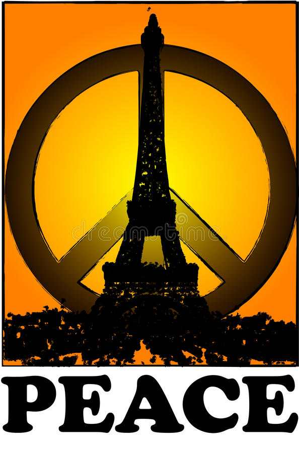 Peace and solidarity for Paris with sunset vintage Paris, france royalty free stock photography