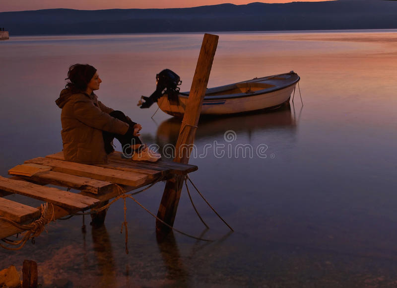 Solitude at sunset stock photography