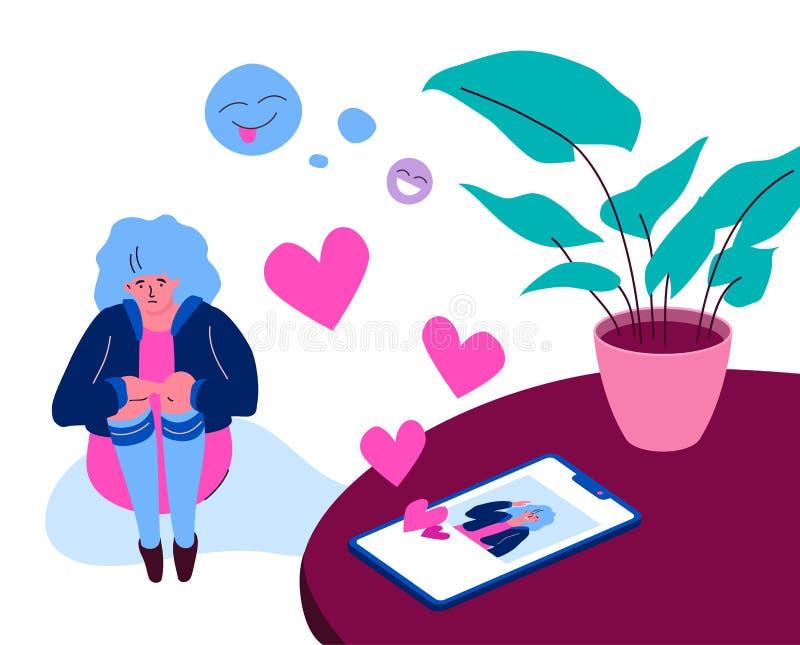 Solitude sur l'Internet - illustration plate colorée moderne de style de conception illustration de vecteur