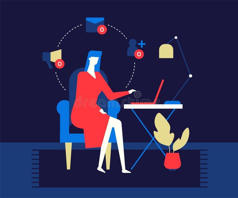 Solitude sur l'Internet - illustration plate color?e moderne de style de conception illustration de vecteur