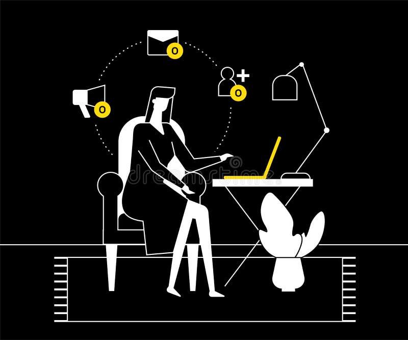 Solitude sur l'Internet - illustration plate de style de conception illustration stock
