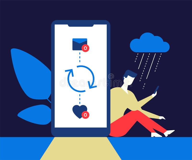 Solitude sur l'Internet - illustration plate moderne de style de conception illustration libre de droits