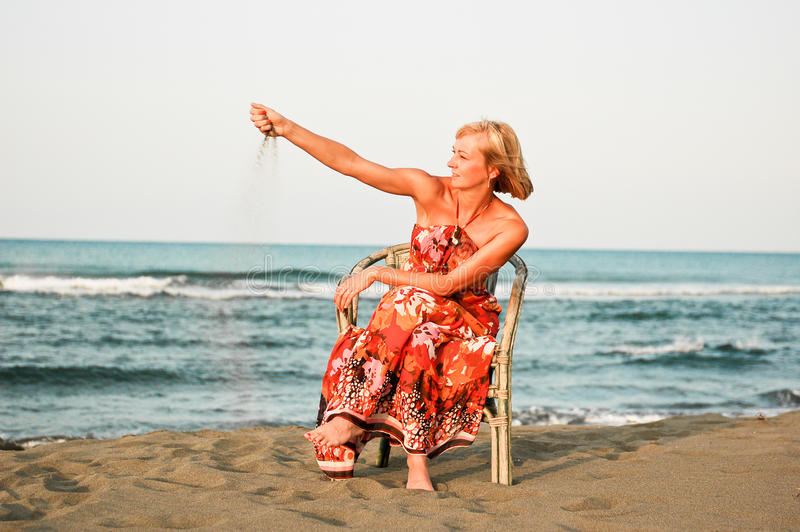 Download Solitude Woman On The Beach Stock Image - Image: 27208311