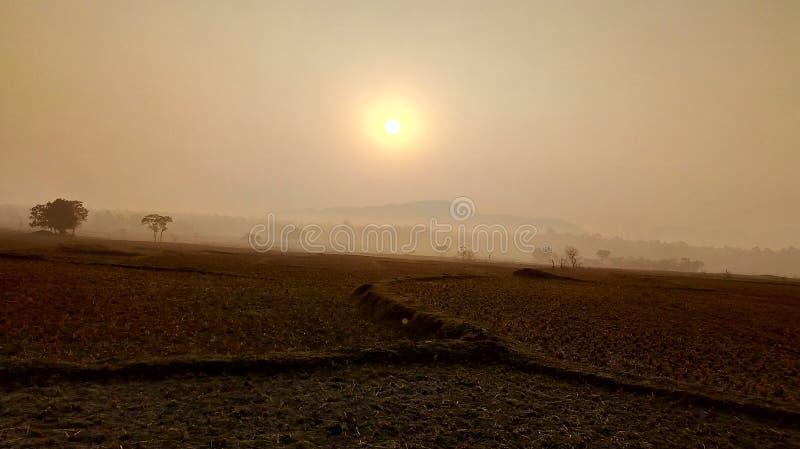 Sollöneförhöjning i vinter arkivfoton