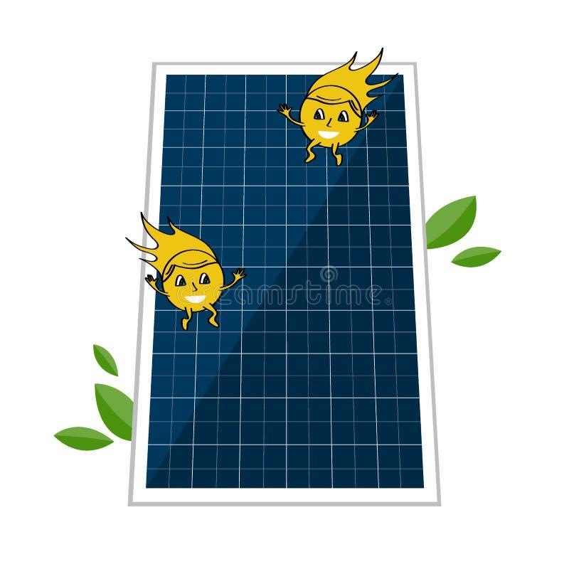 Sollar-Teig und zwei nette Sonnenstrahlncharaktere Solarenergie- und Energiekonzept, zum der Umwelt zu speichern alternative vektor abbildung