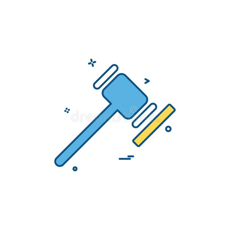 Solleciti il martello di ordine di legge e ordine della giustizia della giustizia del ico della corte illustrazione di stock