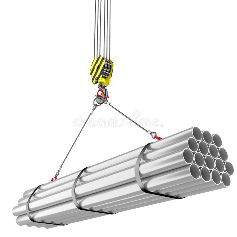 Sollevamento del gancio della gru dei tubi d'acciaio illustrazione vettoriale