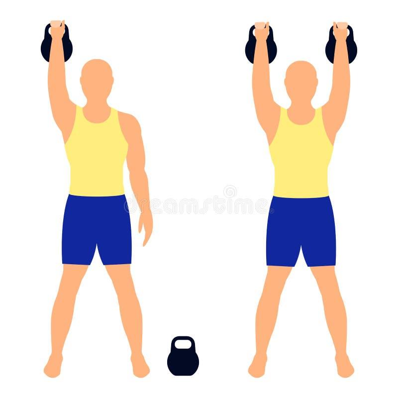 Sollevamento di Kettlebell L'atleta dell'uomo solleva i pesi Illustrati di vettore illustrazione di stock