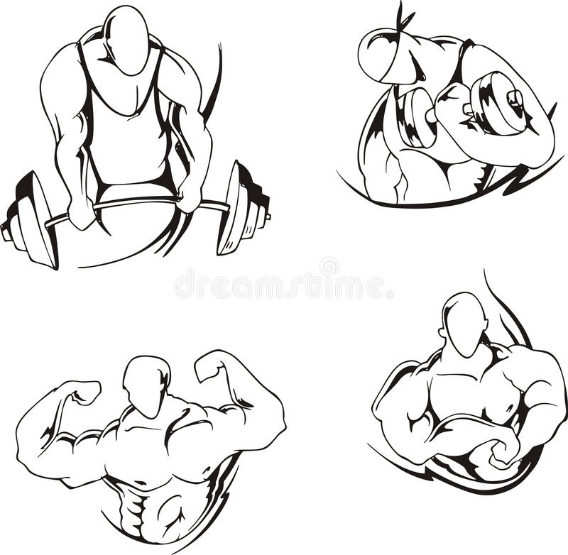 Sollevamento di peso e bodybuilding illustrazione vettoriale