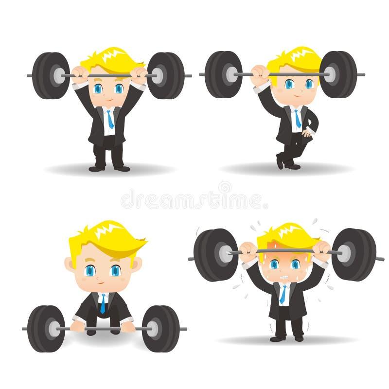 Sollevamento pesi dell'uomo di affari illustrazione di stock