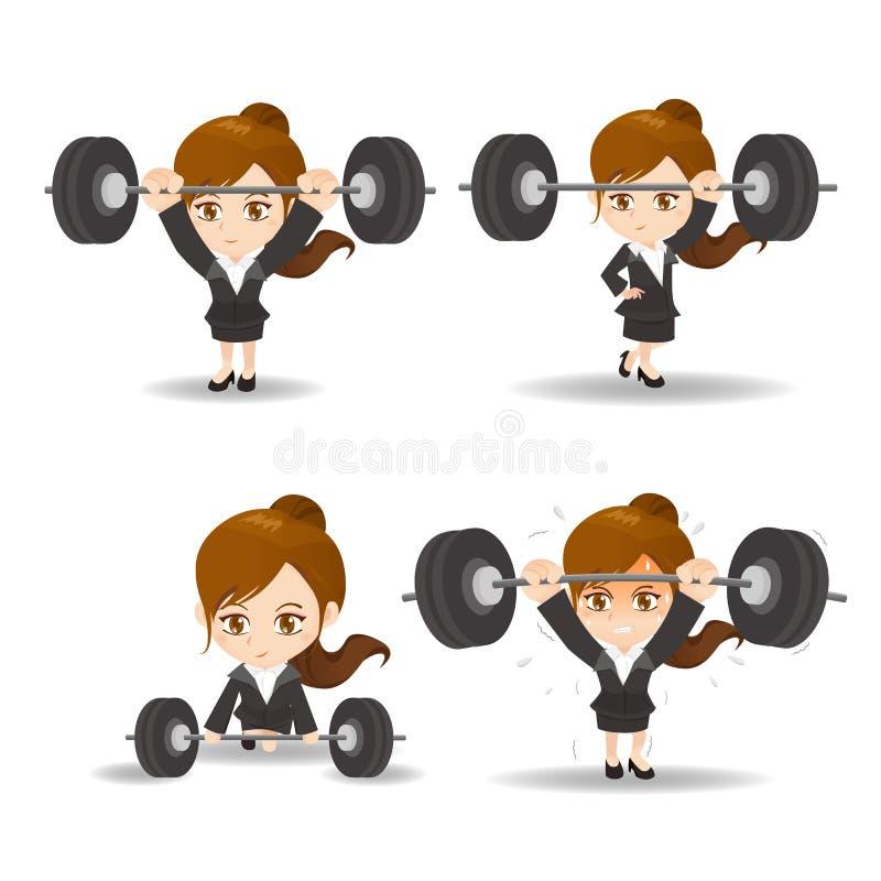 Sollevamento pesi della donna di affari royalty illustrazione gratis