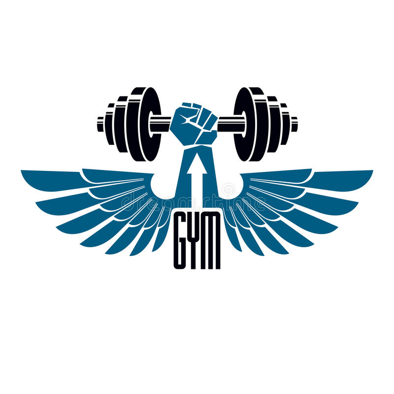 Sollevamento pesi della palestra e logo del club di sport di forma fisica, retro vecto di stile royalty illustrazione gratis