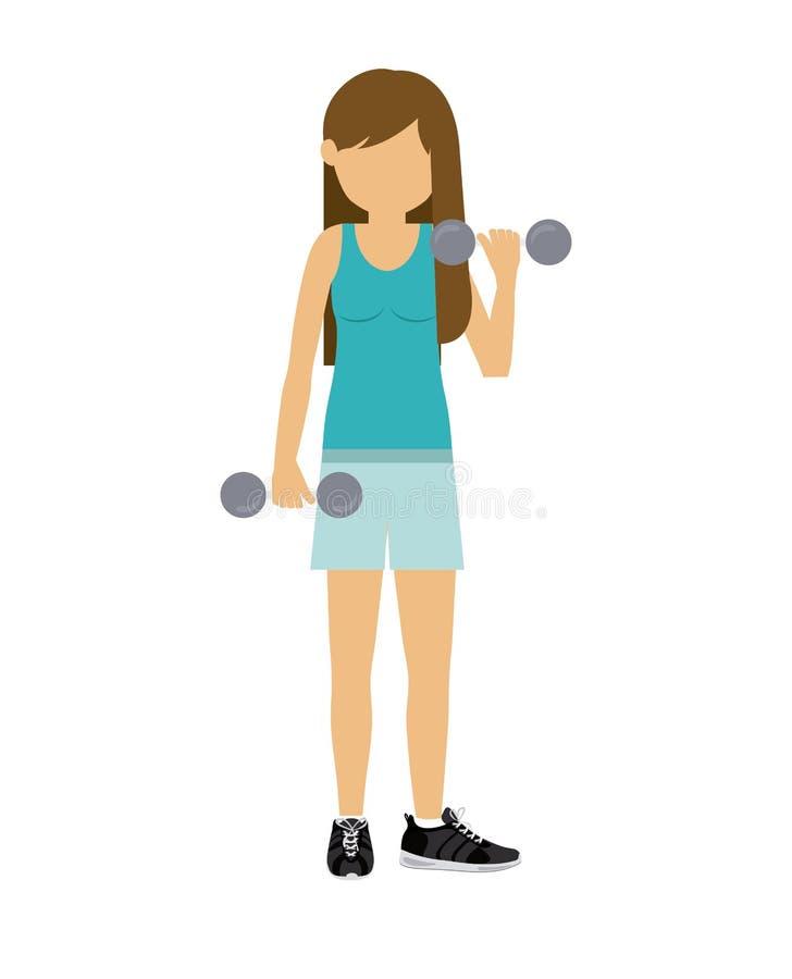 Sollevamento pesi di pratica dell'atleta femminile illustrazione di stock