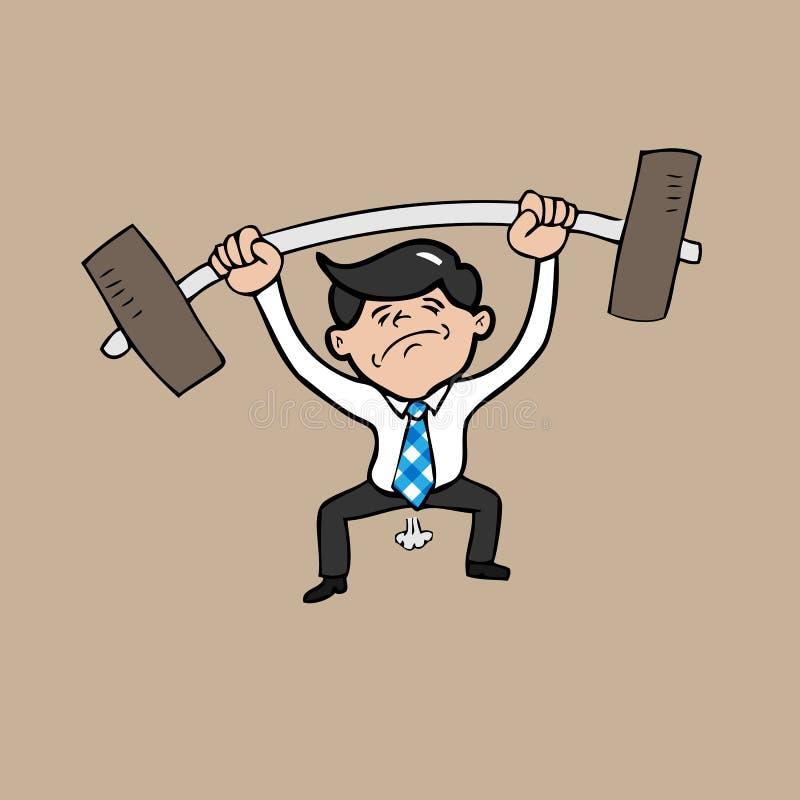 Sollevamento pesi di tentativo dell'uomo d'affari illustrazione vettoriale