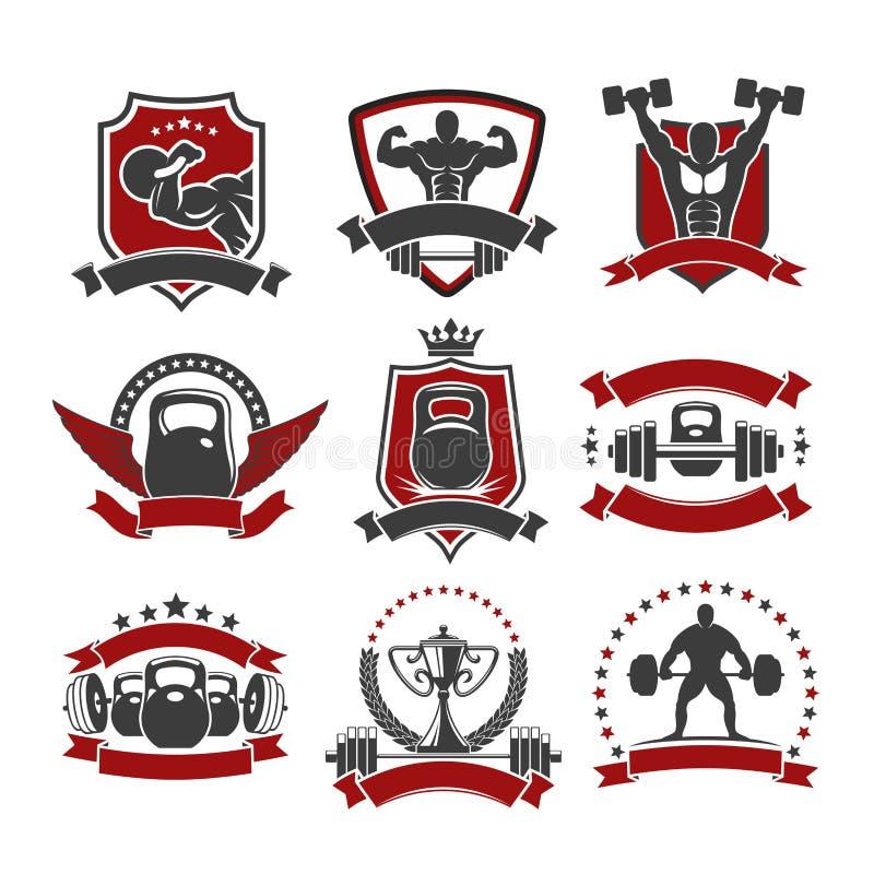 Sollevamento pesi, icone powerlifting del club di sport della palestra royalty illustrazione gratis