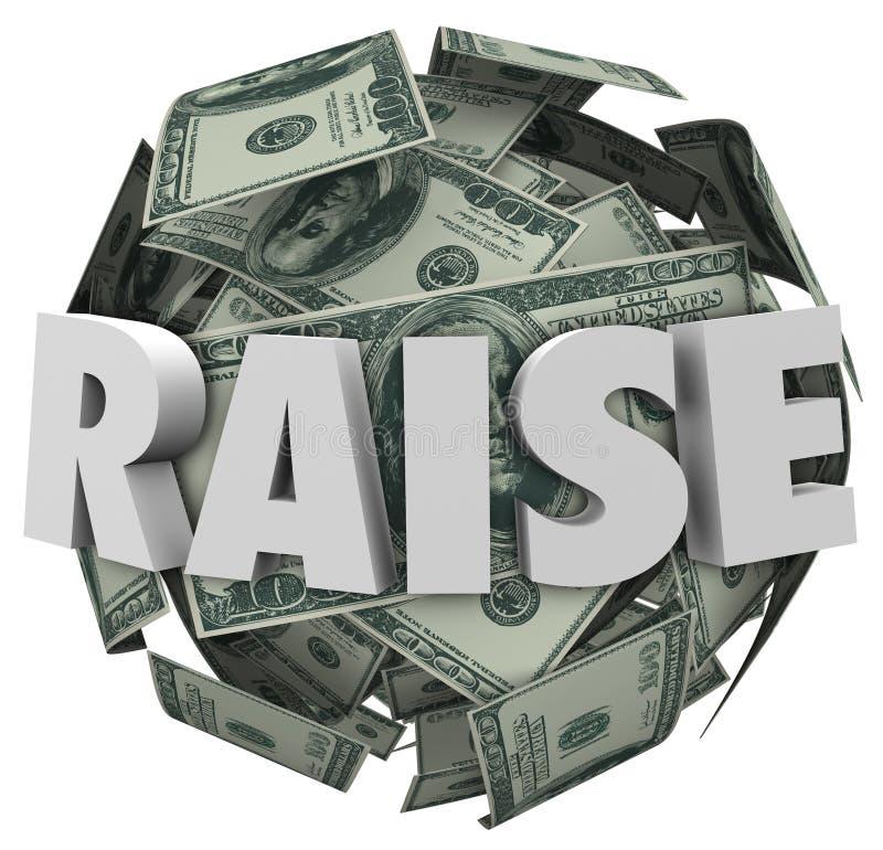 Sollevi l'aumento di paga di parola 3d più compensazione di reddito nominale illustrazione di stock