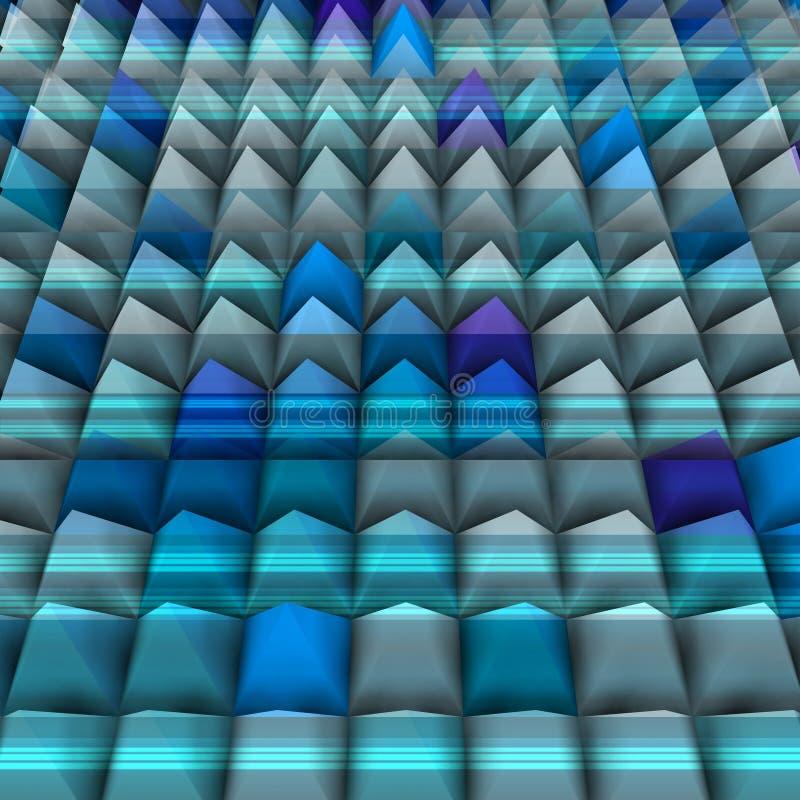 Sollievo blu in 3d con le piramidi state allineate illustrazione di stock