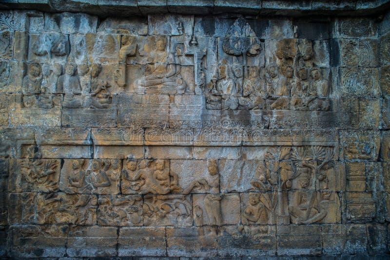 Sollievo del tempio di Borobudur, alla centrale Java Indonesia di Magelang del tempio di Borobudur fotografie stock