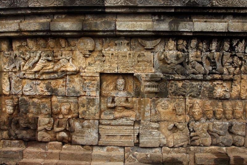 Sollievo del tempio di Borobudur a Yogyakarta, Java, Indonesia fotografia stock