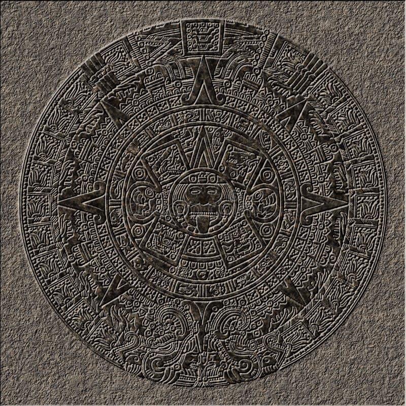 Sollievo maya del calendario cesellato in granito illustrazione di stock