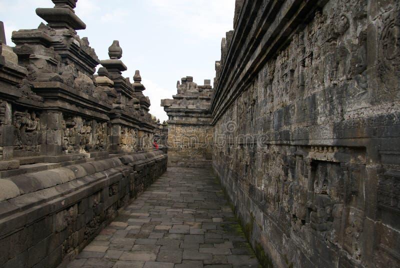 Sollievo o sculture sulla parete del tempio di Borobudur a Jogjakarta, Indonesia immagine stock