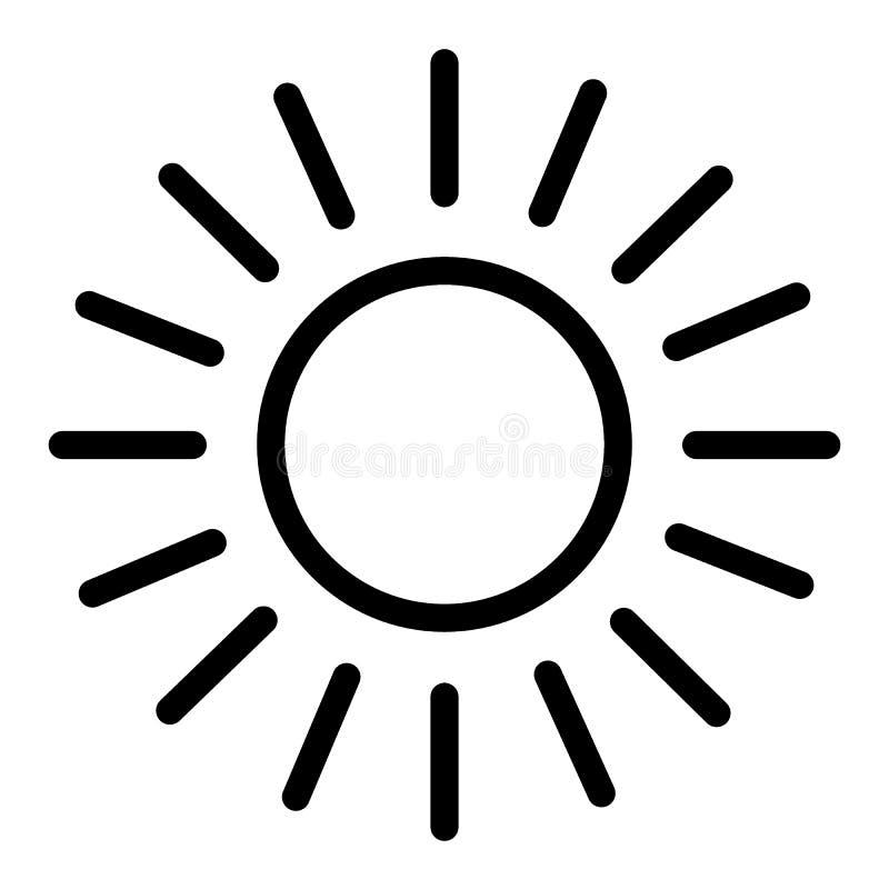 Sollinje symbol Glänsande solvektorillustration som isoleras på vit Sol- och strålöversiktsstil planlägger, planlagt för rengörin stock illustrationer