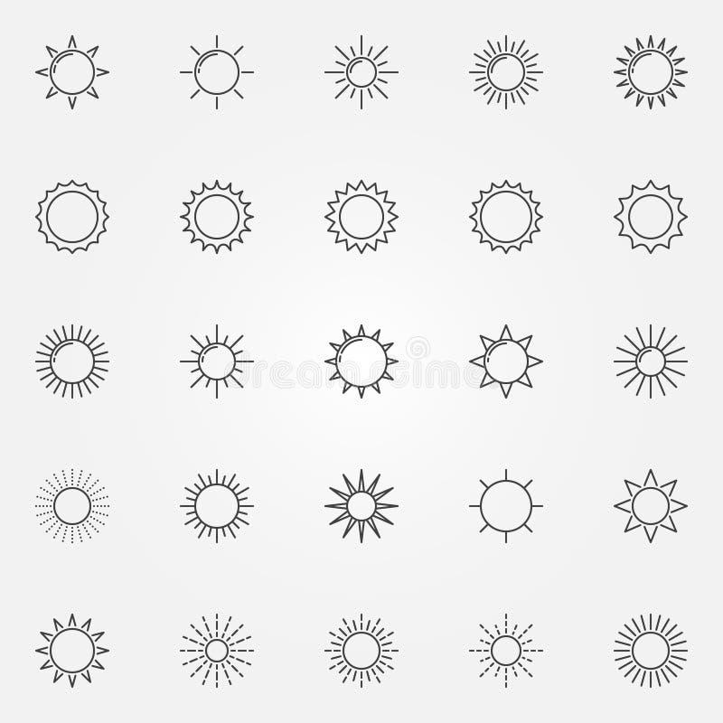 Sollinje symbolsuppsättning royaltyfri illustrationer