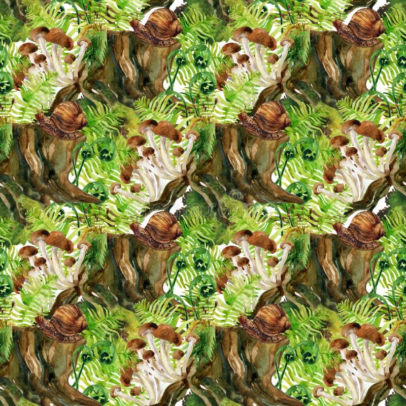 solljus för oak för skog för design för kant för ekollonhöstbakgrund Sömlös modell för trän royaltyfri illustrationer