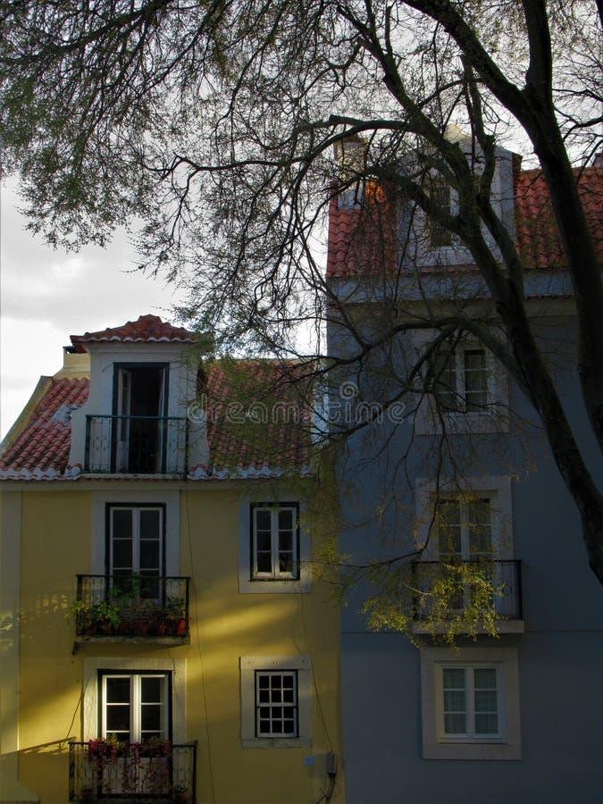 Solljus på den traditionella portugisiska byggande fasaden arkivbild