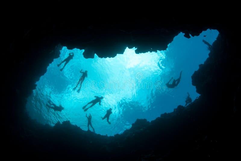 Solljus, Snorkelers och undervattens- Sinkhole arkivfoto