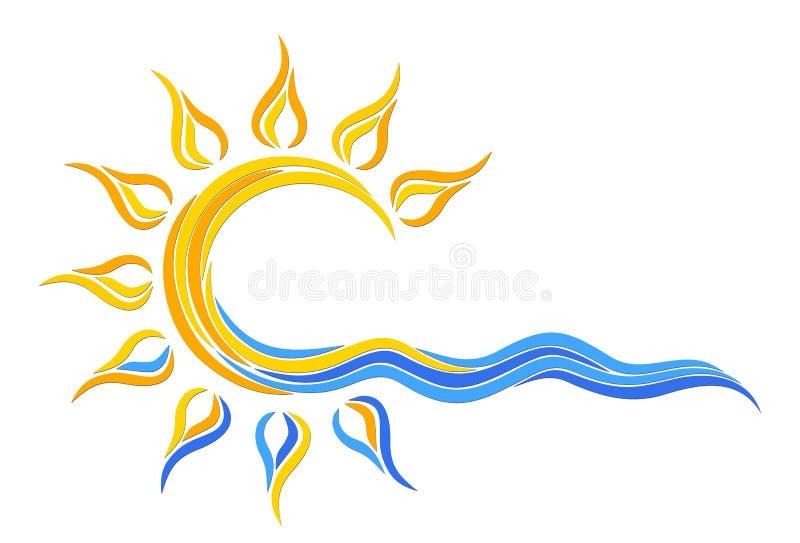Sollogo i havet royaltyfri illustrationer