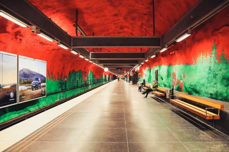 Solna centrum metro station in Stockholm, Sweden. Stockholm, Sweden - May 3, 2018: Solna centrum metro station with unique design. Interior modern undeground stock images