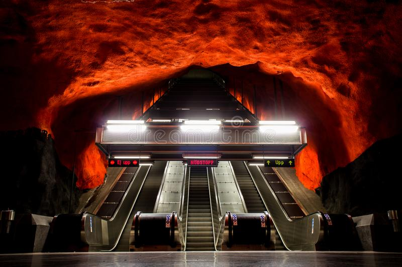 Solna Centrum station Stockholm Sweden. Picture of Solna Centrum metro station in Stockholm Sweden which looks like a cave royalty free stock photography
