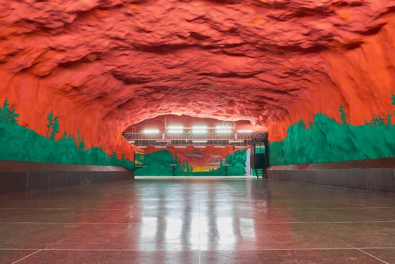 Solna centrum Stockholm metro station. Copy space stock images