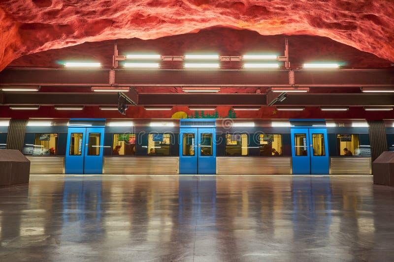 Solna centrum Stockholm metro station with train on platform. Copy space stock image
