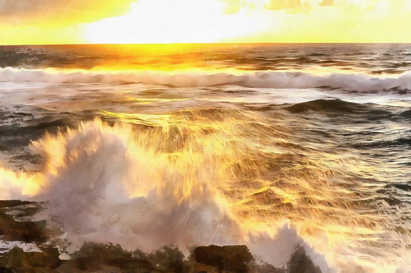 Solnedgång över den Atlantic Ocean kusten och färgrik målning för tidvatten arkivfoto