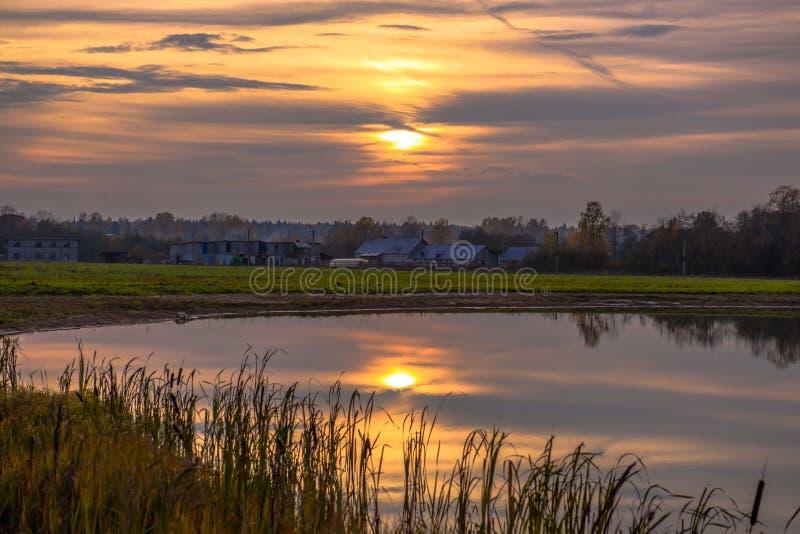 Solnedgång över den lantliga sjön fotografering för bildbyråer