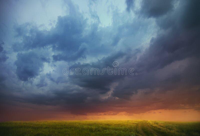 Solnedgång över fältet arkivfoton