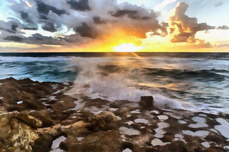 Solnedgång över färgrik målning för Atlantic Ocean strand royaltyfria foton