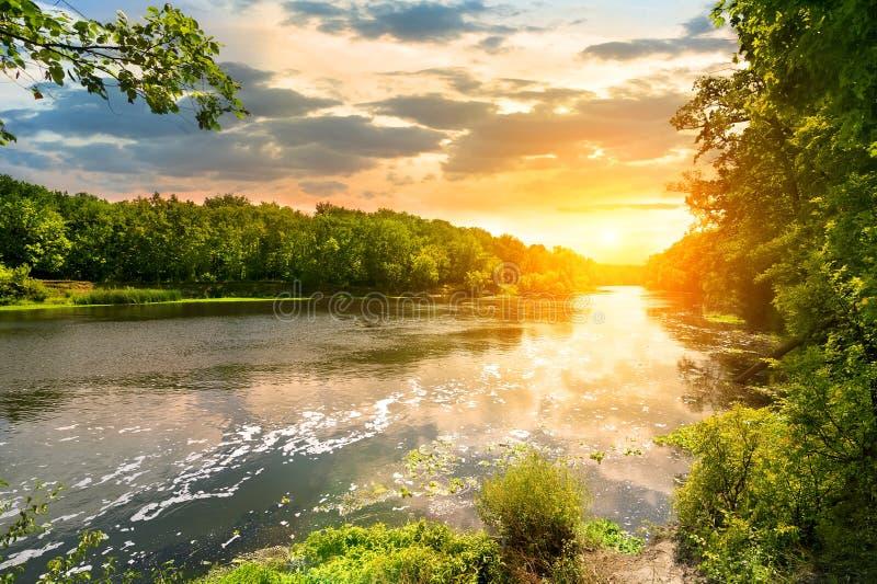 Solnedgång över floden i skogen fotografering för bildbyråer