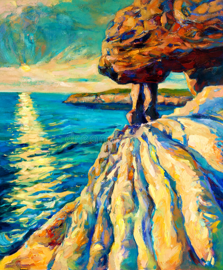 Solnedgång över havkust stock illustrationer