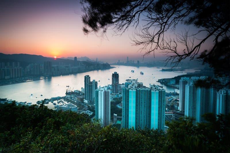 Solnedgång över Hong Kong Island som sett från jäkels maximum, Kowloon fotografering för bildbyråer