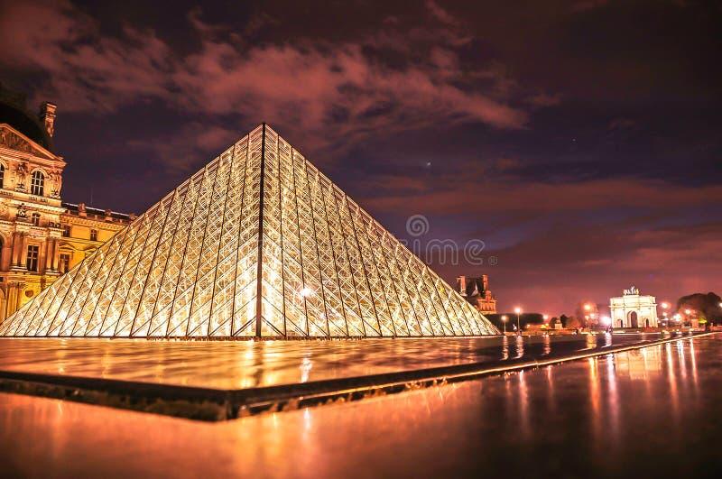Solnedgång över jordningen av Louvre fotografering för bildbyråer