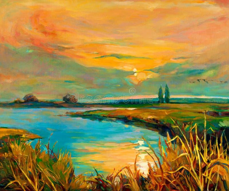 Solnedgång över laken stock illustrationer