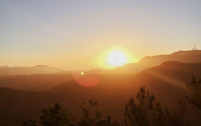 Solnedgång över Los Angeles royaltyfria foton