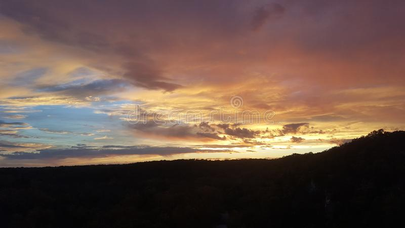Solnedgång över Missouri arkivbilder